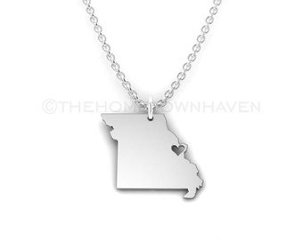 Missouri Necklace - Silver Missouri State Necklace, St. Louis MO, gateway city, state of missouri, missouri state