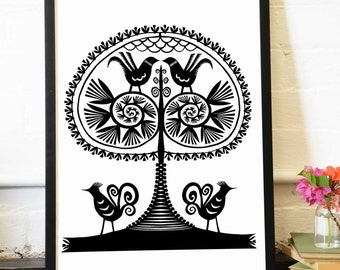 Archival Print Tree of Life series Leluja IV, A4 - Tree and birds, Polish Folk art, Traditional Paper Cutting
