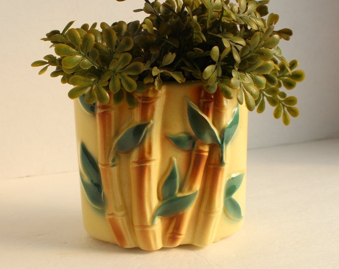 Vintage Ceramic Planter Pot, Bamboo Planter