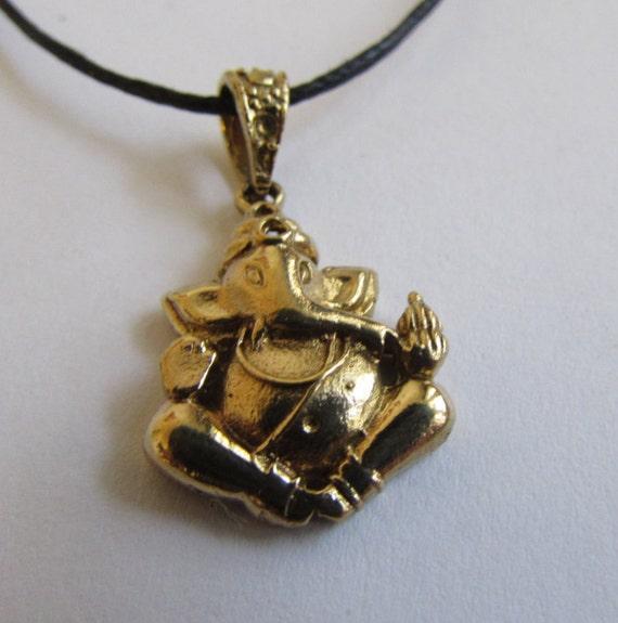 Buddha brass pendant On Wax Cord Yoga Jewellery Om Ohm Aum  Adjustable Unisex Free UK Shipping + Gift Bag