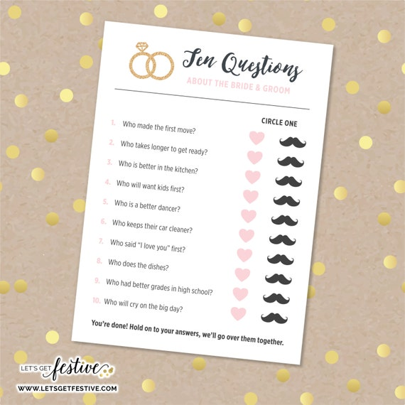 Ten Questions About The Bride & Groom Bridal Shower Game
