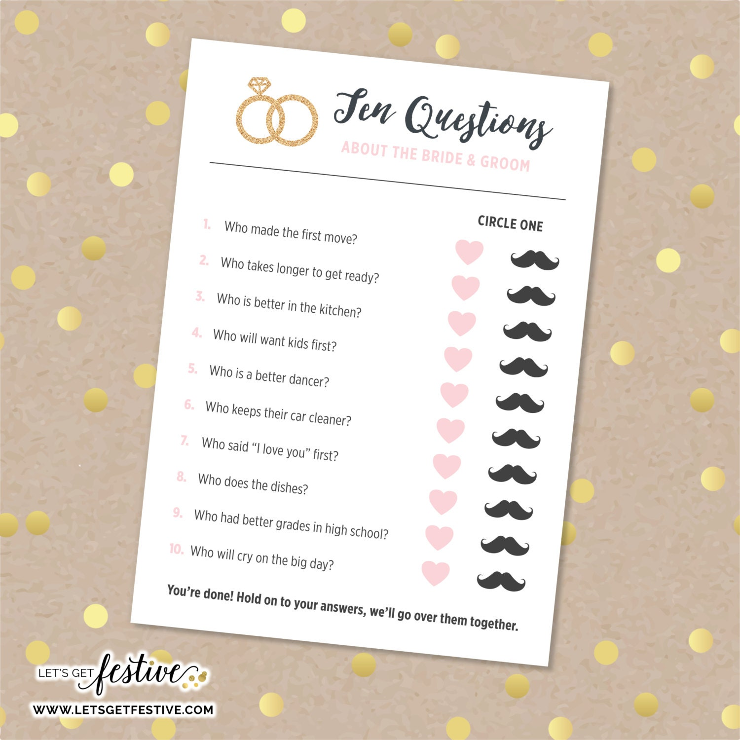 Bride And Groom Questionnaire: Ten Questions About The Bride & Groom Bridal Shower Game