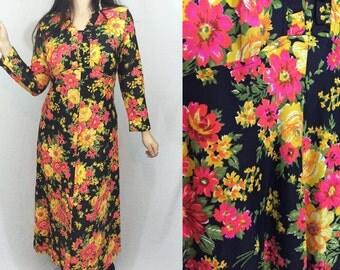 Vintage 60's floral maxi dress - groovy colorful flower child hippie bohemian long sleeve dress
