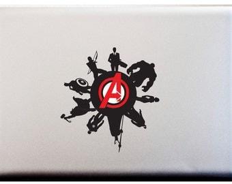 The Avengers Silhouette Decal Loki Nick Fury Captain America Ironman Thor Black Widow Hulk Glowing Apple