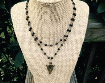 Black Rosary Double Wrap + Arrow