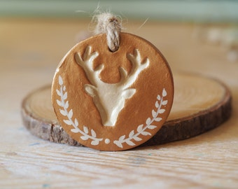 Deer antlers decorations - Rustic Christmas ornaments - Woodland decor - Deer head decor - Handmade Christmas decorations - Clay gift tags