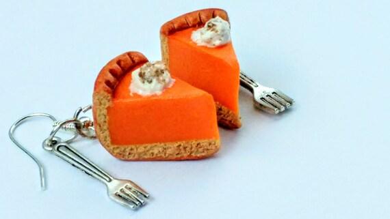 Pumpkin Pie Earrings - Miniature Food Jewelry - Slice of Pumpkin Pie Jewelry - Thanksgiving Jewelry - Inedible Jewelry - Pumpkin Pie Jewelry
