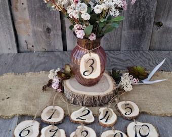 Rustic Wedding Tree Slice Table Numbers~ Spring Wedding ~ DIY Wedding ~ Mason Jar Table Numbers