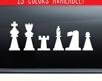 Chess Team Pieces Vinyl Decal Laptop Car Truck Bumper Window Sticker