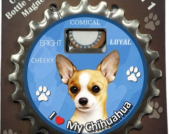 Chihuahua Bottle opener, coaster, and magnet. A 3 in 1 multi-tool gadget made from heavy duty stainless metal.  A Perfect gift.