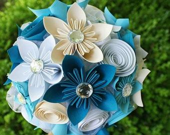 Paper Flower Bouquet - Turquoise Bridal Bouquet - Paper Wedding Bouquet - Beach Wedding Bouquet - Kusudama Bouquet - Paper Wedding Flowers