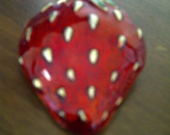 Large Vintage Enameled Red Strawberry Figural Brooch Pin, Gold and Green Accents
