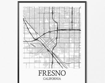Fresno Map Art Print, Fresno Poster Map of Fresno Decor, Fresno City Map Art, Fresno Gift, Fresno California Art Poster