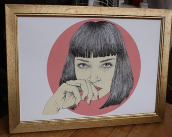 Pulp Fiction Art Print Mia Wallace Quentin Tarantino Art Print