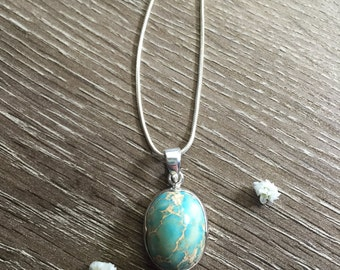 TURQUOISE Sterling Silver Scalloped Bezel Set Pendant