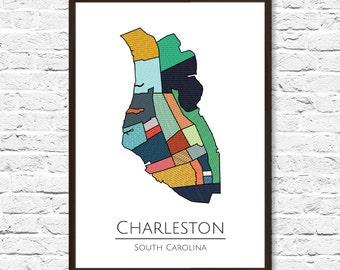 Charleston SC Print, Charleston SC, Charleston Poster, Charleston Map, Charleston Print, Charleston Neighborhoods