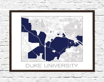 Duke Poster, Campus Map, Duke Campus, Duke University, Durham NC, Durham Art, Durham Print, Durham Posters, Duke Art, Duke Print