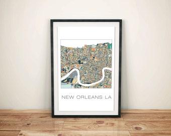 New Orleans Art, New Orleans Print, New Orleans Map, Home Decor, City Map