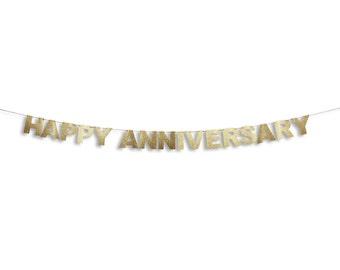 HAPPY ANNIVERSARY Banner, Happy Anniversary Garland, Anniversary Banner, Anniversary Glitter Garland, Anniversary decoration