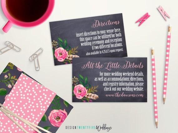 Printable chalkboard floral enclosure cards