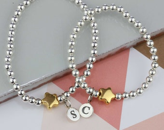 Mother and Daughter Silver Bead Friendship Bracelets with Gold Star Charms Personalised with Solid Silver Stamped Initial Charms