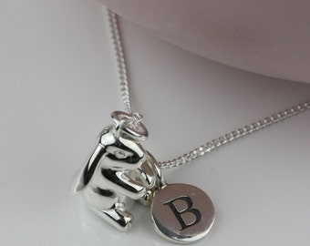 Solid Silver Bunny Rabbit Charm Necklace Personalised with a Solid Silver Stamped Initial Charm