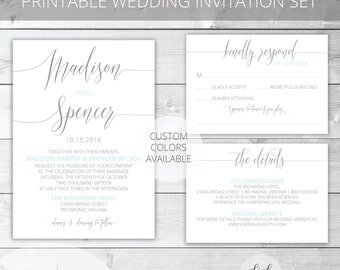 Light Blue/Gray Printable Wedding Invitation Set | Modern | Madison Collection | RSVP & Details/Enclosure Card | Custom Colors Available