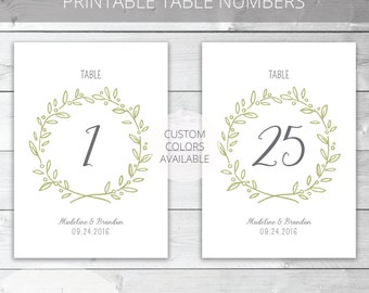 Printable Wedding Table Numbers | Whimsical | Madeline Collection | Garden Wedding | Reception Table Numbers | Custom Colors Available