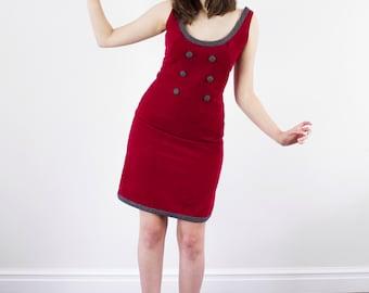 Vintage 1960s Vicky Vaughn Dress / Red Wine Velvet Mod Dress / Scoop Neck / Dipped Back / Wiggle Dress / S/M