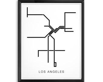 Los Angeles Subway Map, Black Lines - LA Metro Transit Map, Minimalist City Map Depiction of LA Subway Trains, Rail Lines, Rail Car Map