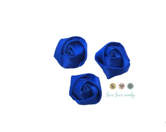 "Royal Blue-Cobalt Blue-Mini Rolled Satin Rosettes - 1.5"" Satin Flower -Rosette -Fabric Flower -Rolled Rosette-small-petite-mini-Wholesale"
