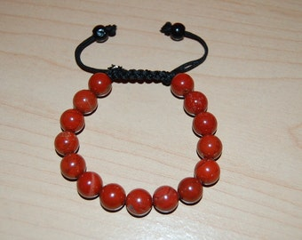 Red Coral Stone bracelet, 10mm Beads, Shamballa Style Bracelet,FIT ALL,Lucky Stone,Man,Woman