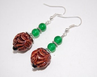 Dragon Balls Earrings,Jade Beaded Earrings,Drop Earrings ,Dangle Earings ,Boho Jewelry ,Gift For Her