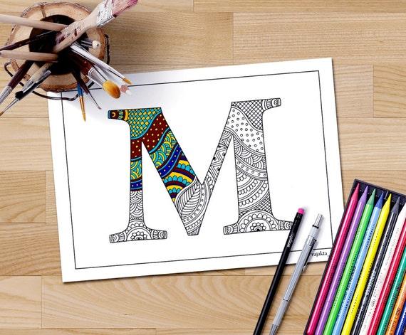 Adult Coloring Book Download Zentangle Alphabet Letter
