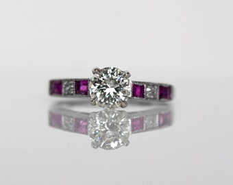 Circa 1940 - Art Deco Platinum GIA 1.01 Old European Cut Diamond & Ruby Engagement Ring - VEG#577