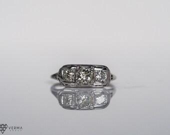 Antique Art Deco Diamond Engagement Ring * .97 cttw *  VEG #134