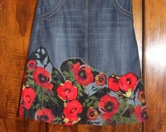 Wild Poppies- patchwork denim gypsy skirt/ bohemian