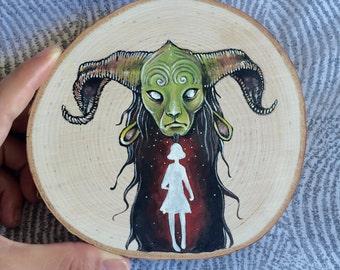Pan's Labyrinth Original Gouache Mini Fairytale Painting on Wood