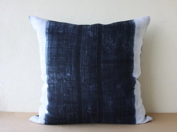 "SALE!!! 30% Off - Hmong Hill Tribe Hand Woven Indigo Batik Hemp Pillowcase, Pillow Cover 20"" x 20"" /067"