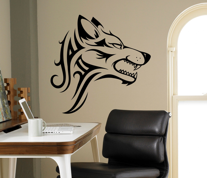 🔎zoom - Tribal Wolf Wall Decal Beast Wild Animal Vinyl Sticker Home