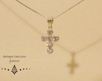 Silver CZ cross necklace.