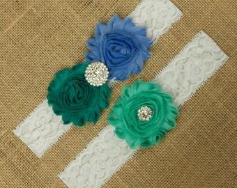 Green Garter, Blue Garter, Garter Set, Garter Belt, Wedding Garter Belt, Wedding Garter Set, Garter Belt, Blue Garter, Garter Blue, SCW3-31