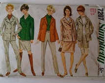 Vintage 70's Simplicity 7207 Sewing Pattern Wardrobe Wool Peacoat Coat Double Breasted Jacket Trouser Pant Suit and Skirt Size Medium