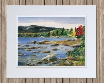 Mt Katahdin Painting - Sandy Stream Pond, Baxter State Park - Maine Watercolor Landscape Art - Maine Fall Foliage