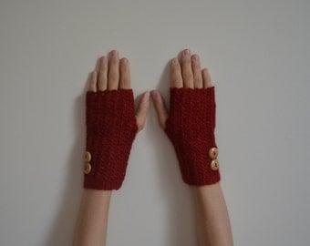 Wool Crochet Fingerless Red Gloves, Angora Wool, Women Accessories, Winter Fashion
