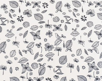 leaf, flower fabric, black and white color 100% Cotton Fabric by yard, fat quarter, half yard, yard