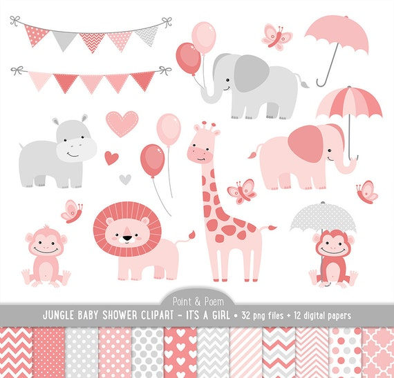 jungle animals baby shower clipart baby animals clip art itu0027s a girl baby shower cute jungle digital papersbaby shower commercial use from