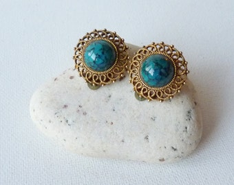 Vintage Round Clip-On Earrings Blue Marbeled Stone, Brass Gold  Round Retro Filigree Earrings, Filigree Clip-on, Costume Jewelry from 1940's