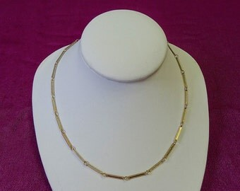 Vintage Necklace Bar and Links Choker Length Unusual design Textured Edges
