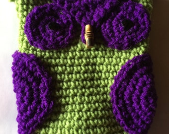 Light Green, Purple, Orange Owl Makeup Case 5.5x7 Crocheted Toggle Closure